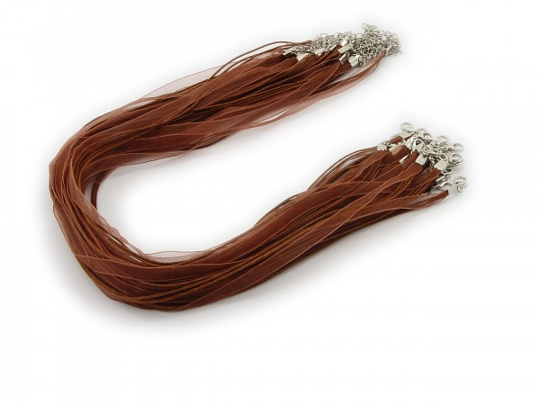 2 Halsbänder Organzaband Schleifenband Schmuckband Kette * Braun *