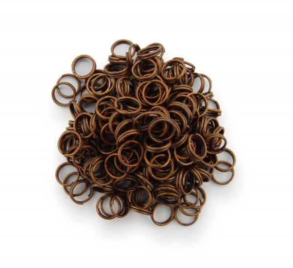 Schlüsselringe / split Rings 6mm Durchmesser Farbe Antik Kupfer 15g ca.150 Stk