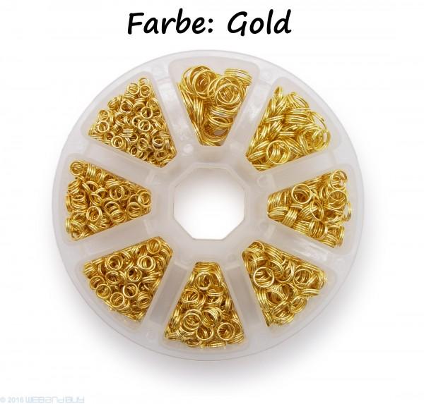 Schlüsselringe Set 4-10mm Durchmesser Farbe Gold