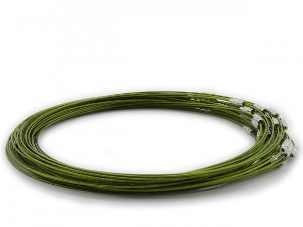 Halsreif aus Stahl ** Pistaziengrün ** Schraubverschluss ** Länge ca. 45 cm