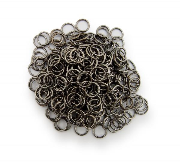 Binderinge / jump Rings 6mm Durchmesser Schwarz / gunmetal 50g ca.800 Stk