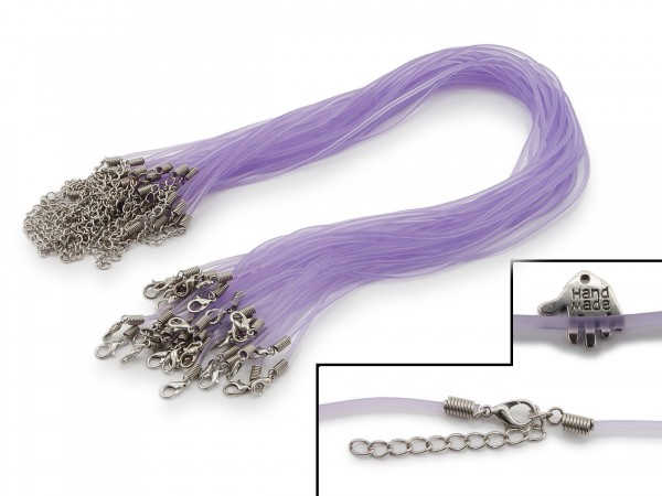 2 Halsbänder aus transparentem Kunststoff Flieder