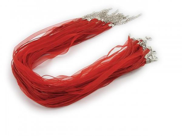 2 Halsbänder Organzaband Schleifenband Schmuckband Kette * Rot *