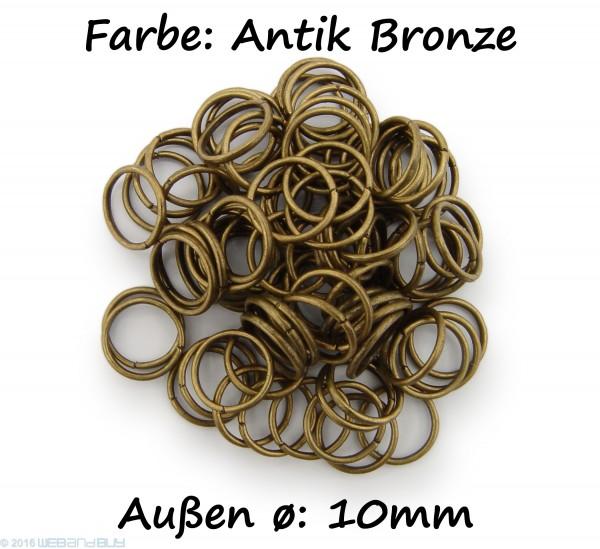 Binderinge / jump Rings 10mm Durchmesser Farbe Antik Bronze 50g ca.260 Stk