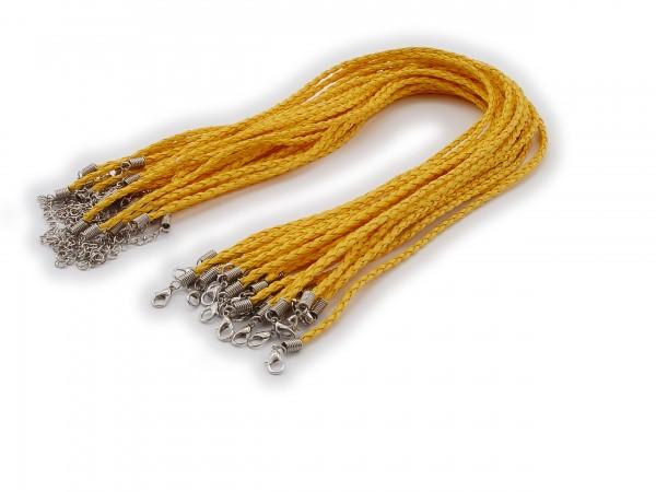 2 Halsbänder aus geflochtenem Kunstleder Korngelb