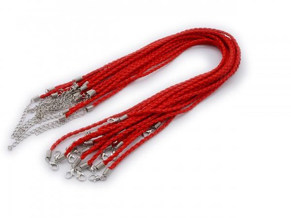 2 Halsbänder aus geflochtenem Kunstleder Rot