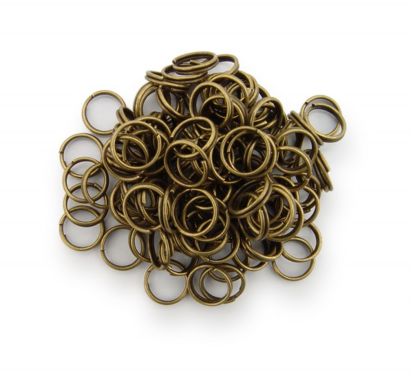 Schlüsselringe / split Rings 8mm Durchmesser Farbe Antik Bronze 50g ca.350 Stk