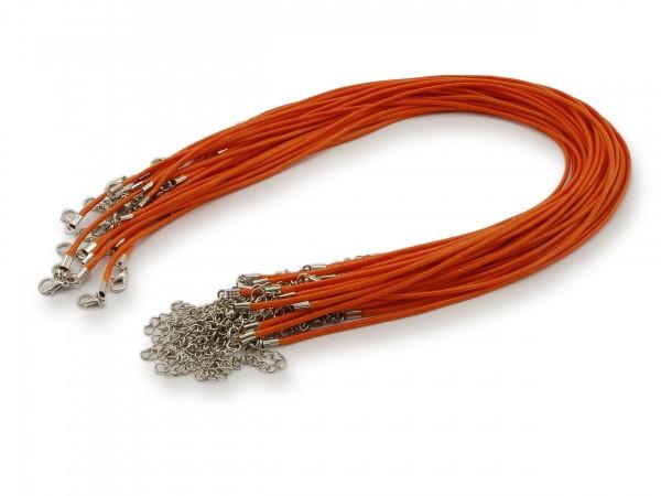 2 Halsbänder aus Wax Cord Orange mit Karabinerverschluss