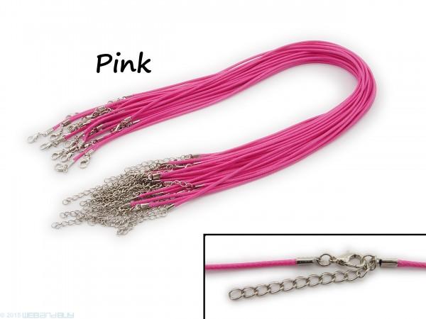 Halsband aus Wax Cord Pink mit Karabinerverschluss