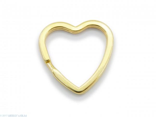 Schlüsselring / split Ring in Herzform 31mm Breite Farbe Gold