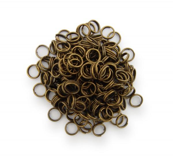 Schlüsselringe / split Rings 6mm Durchmesser Farbe Antik Bronze 50g ca.500 Stk