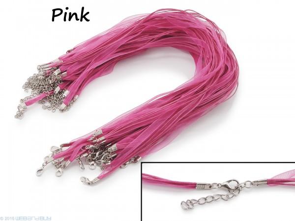 Halskette Organzaband Schleifenband Schmuckband Kette * Pink *