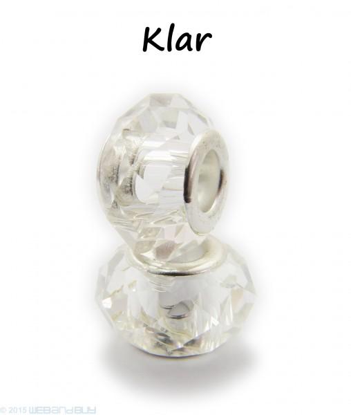 Facettierte Perle / Bead aus Glas 14 x 8 mm Farbe - Klar