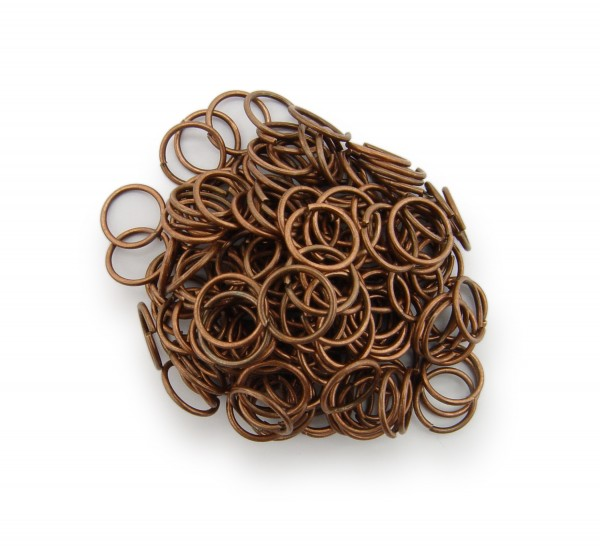 Binderinge / jump Rings 8mm Durchmesser Farbe Antik Kupfer 50g ca.550 Stk