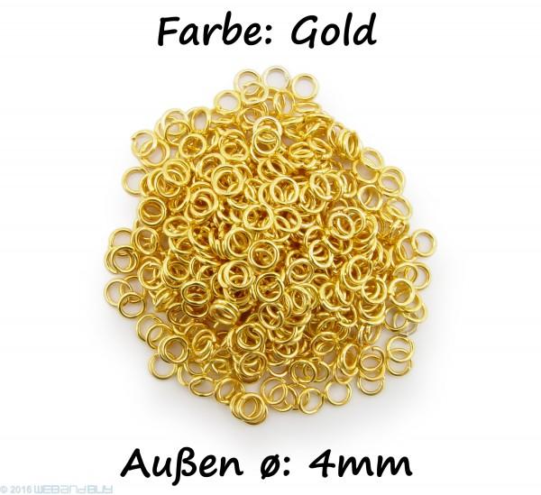 Binderinge / jump Rings 4mm Durchmesser Farbe Gold 15g ca.420 Stk