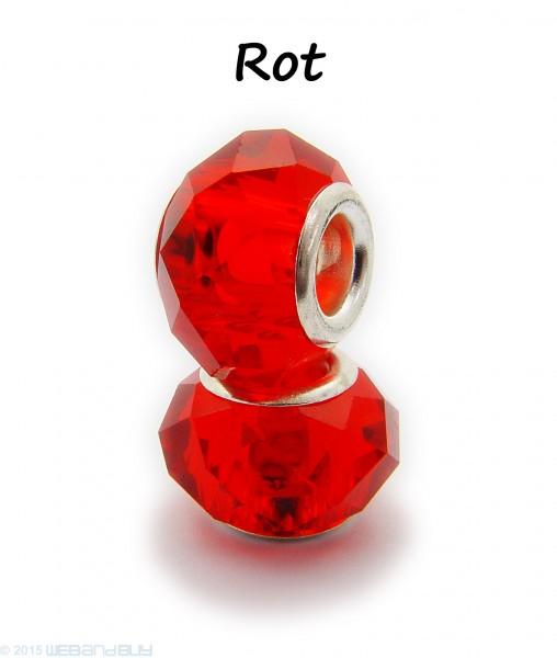 Facettierte Perle / Bead aus Glas 14 x 8 mm Farbe - Rot