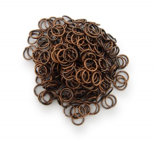 Binderinge / jump Rings 6mm Durchmesser Farbe Antik Kupfer 15g ca.260 Stk