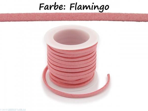 Kunstlederband in Wildlederoptik Farbe: Flamingo 5m lang 1,5mm dick 3mm breit
