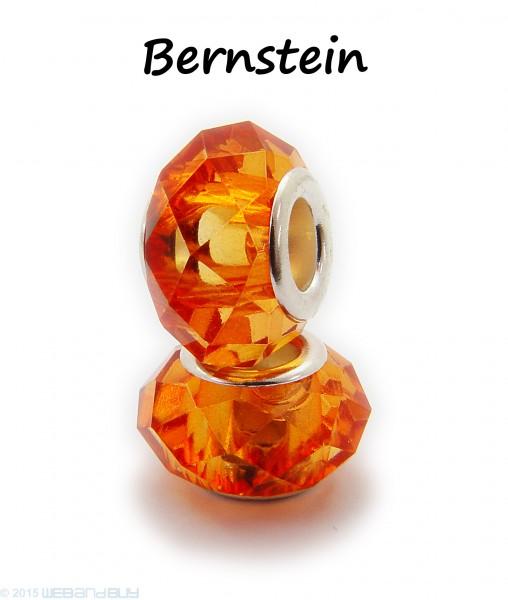 Facettierte Perle / Bead aus Glas 14 x 8 mm Farbe - Bernstein