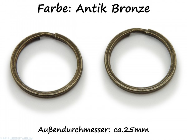 2 Schlüsselringe / split Rings 25 mm Durchmesser Farbe Antik Bronze