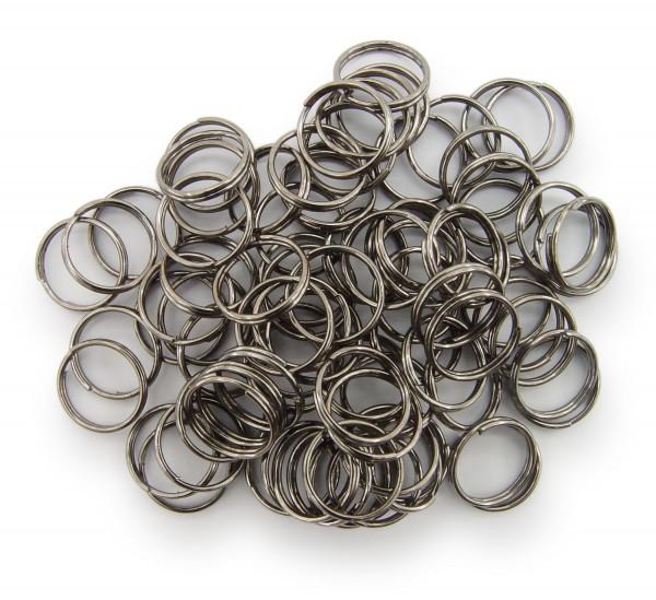 Schlüsselringe / split Rings 10mm Durchmesser Schwarz / gunmetal 15g ca.80 Stk
