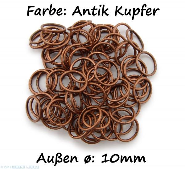 Binderinge / jump Rings 10mm Durchmesser Farbe Antik Kupfer 15g ca.80 Stk