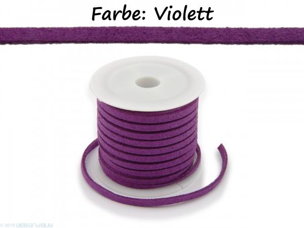 Kunstlederband in Wildlederoptik Violett 5m lang 1,5mm dick 3mm breit