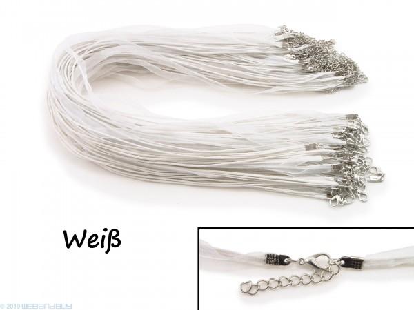 Halskette Organzaband 39cm Schleifenband Schmuckband Kette * Weiß *