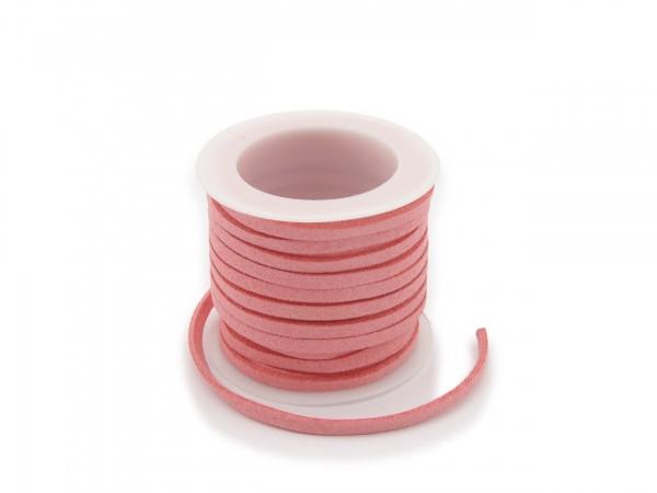 Kunstlederband in Wildlederoptik Flamingo 5m lang 1,5mm dick 3mm breit