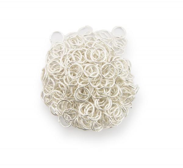 Binderinge / jump Rings 6mm Durchmesser Farbe Silber 15g ca.260 Stk
