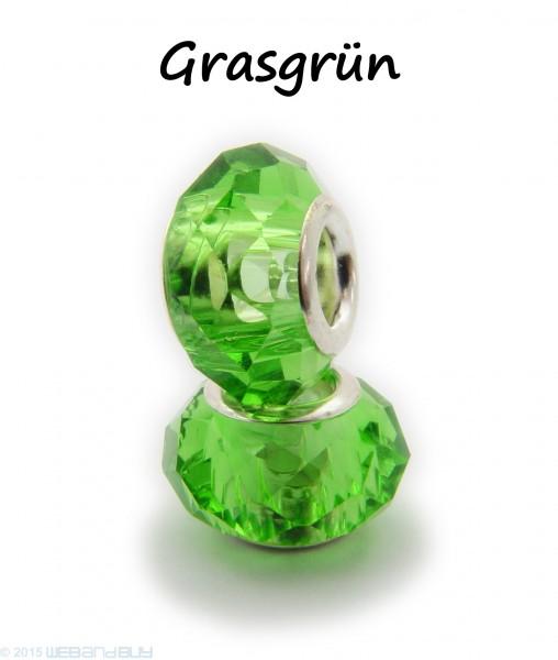 Facettierte Perle / Bead aus Glas 14 x 8 mm Farbe - Grün