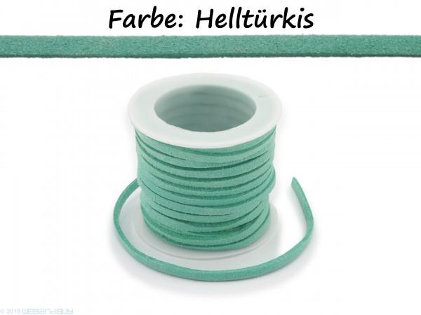Kunstlederband in Wildlederoptik Farbe: Helltürkis 5m lang 1,5mm dick 3mm breit