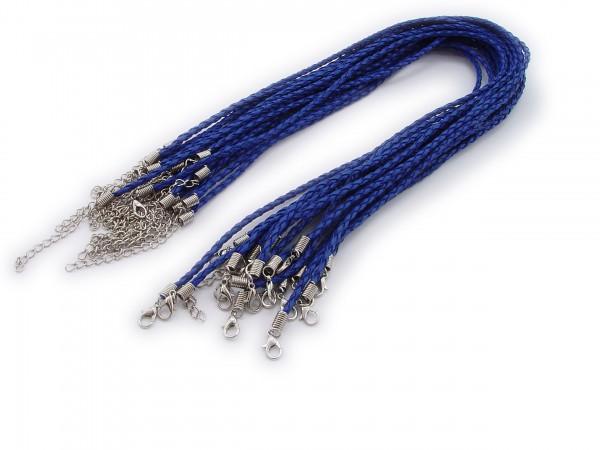 2 Halsbänder aus geflochtenem Kunstleder Kornblumenblau